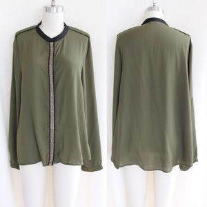 Olive & Black Button Down Blouse